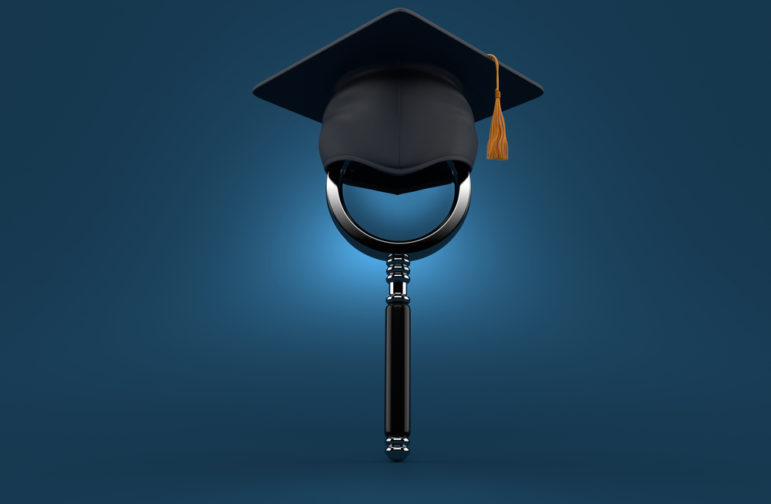 Magnifying glass, mortarboard, academia, journalism, collaboration